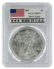 2007 1oz Silver Eagle PCGS MS70 - Made In USA Label
