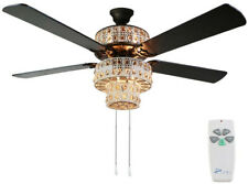 Lighted Ceiling Fan 5-Reversible Blades 3-Speed Remote Control Bronze 52 in.