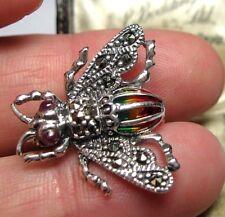 Plata Maciza Estilo Vintage joyas plique un jour Marcasita Abeja Pin Broche