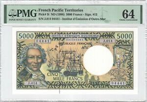 French Pacific Territories 5000 Francs 1996 P-3i PMG 64