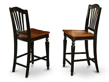 SET OF 8 CHELSEA KITCHEN COUNTER HEIGHT CHAIRS w/ PLAIN WOOD SEAT BLACK & CHERRY