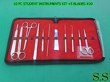 SET OF 10 PC STUDENT DISSECTING DISSECTION MEDICAL INSTRUMENTS KIT +5 BLADES #20
