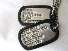 DOG TAGS MILITARY CUSTOM ARMY,  UP TO 18 SPACES!!  2-EA TAGS, MADE ON GI MACHINE