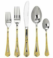 18/10 Stainless Steel 24K Gold-Plated Flatware Set of 75-Piece,Gift Wood Case