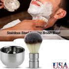 TINKSKY  Stainless Steel Badger Hair Shaving Brush Double Layer Shave Bowl Mug