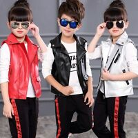 New Kids Children PU Leather Sleeveless vest Boys Girls Jackets punk Waistcoat
