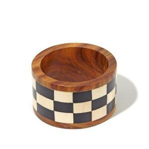 """Bajalia Manreet"""" Black & White Wooden Bangle Bracelet 7-3/4"""""""
