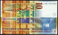 Switzerland 2013  Very Fine 10 Swiss Francs Banknote Paper Money Bill P-67e(3)