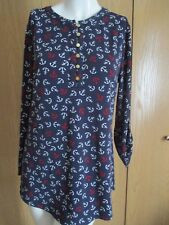 ** CHARTER CLUB STRETCH NAVY BLUE BLOUSE W WHITE & RED ANCHORS SZ M