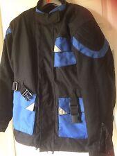 "Motor bike jacket, black+blue quilted, size 44"" chest, Make Skin, Armoured parts"