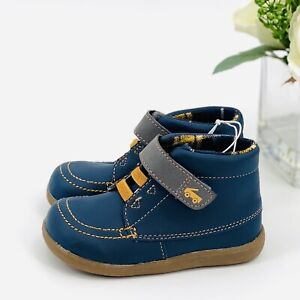 NEW See Kai Run Toddler Boys Gibson Fashion Boots Sz 5 Shoe Navy Blue Flannel
