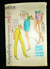 """UNCUT VINTAGE 1960's SIMPLICITY SEWING PATTERN SHORTS SKINNY TROUSERS WAIST 25"""""""