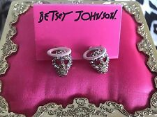 Betsey Johnson A&D Angel Devil Vintage Crystal AB Skull Head Stud Earrings