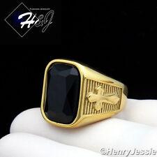 MEN's Stainless Steel Gold/Black Rectangle Onyx Cross Ring Size 8-13*GR112