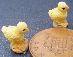 1:12 Scale 2 Yellow Resin Chicks Tumdee Dolls House Garden Pet Chicken Accessory