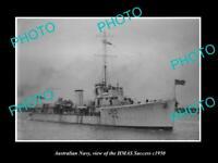 OLD POSTCARD SIZE PHOTO OF AUSTRALIAN NAVY SHIP HMAS SUCCESS c1950