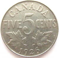 1926 NEAR 6 - CANADA 5 CENT COIN, GEORGE V, G+ GRADE - FREE SHIPPING !!!