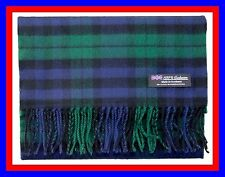 100% Cashmere Scarf Blue Green Check Plaid Scottish Tartan Wool Infinity Z317