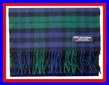 100% Cashmere Scarf Blue Green Check Plaid Scottish Tartan Wool Infinity Z317