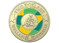 2019 Wallabies $2 Coloured Unc Coin in Card