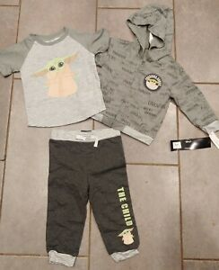 New 3 Piece Outfit Baby Yoda Star Wars Boys Hoodie Shirt Pants Set Infant 3/6M