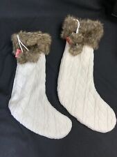 2 Ivory Cable Knit Sweater Christmas Stocking with Faux Fur Cuff Trim & Pom Poms