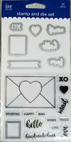Love Nicole Clear Stamp & Die Set Envelope Letter Mail Love Happy Heart Cards