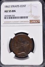 1862 Straits Settlements 1 Cent, NGC AU 55, Malaysia
