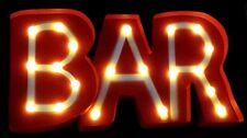 "Lighted Metal Marquee ""Bar"" Open Sign 8.5""X16"" Red Vtg Style Restaurant Tavern"
