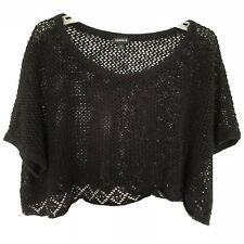 Torrid Cropped Sweater 1X Women Net Crochet Knit Top Black Stretch Short Sleeve