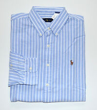 NWT Men's Ralph Lauren Casual Long-Sleeve Oxford Shirt, Blue, White, L, Large