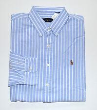 NWT Men's Ralph Lauren Casual Long-Sleeve Oxford Shirt, Blue, White, XL, X-Large