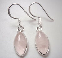 Rose Quartz Marquise 925 Sterling Silver Dangle Earrings Corona Sun Jewelry