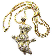 "ICED OUT ""DOUGHBOY"" PENDANT WITH 4mm 36"" FRANCO CHAIN"