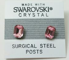 Pink Emerald Rectangle Stud Earrings 8mm Light Crystal  Made with Swarovski