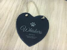 Larger Engraved Heart Shape Natural Slate Pet Memorial Tree Marker Plaque