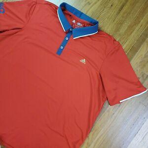 Adidas Mens Performance Polo Sz 2XL XXL USA Golf Olympics Red Stretch