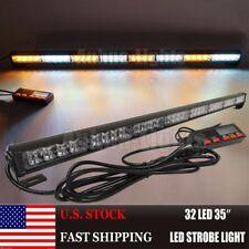 """35"""" 32 LED Amber&Whtie Strobe Truck Traffic Advisor Directional Arrow Light Bar"""