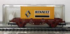 ELECTROTREN 1021 ECHELLE HO 1/87 WAGON PLAT RENFE COURT + CONTENEUR RENAULT