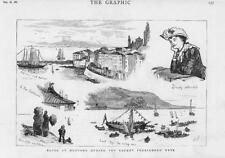 1882-antica stampa Francia Mentone stranieri Fete Yacht Porto di mare (55)