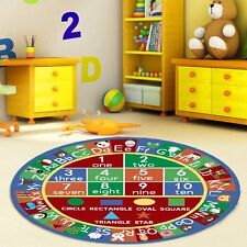 """3'3"""" Kids Round ABC Alphabet Numbers Educational Non Skid Area Rug-755"""
