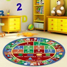 3 Kids Round Abc Alphabet Numbers Educational Non Skid Area