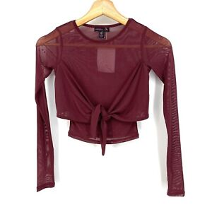 XS NWT Material Girl Active Juniors Front Tie Cropped All Mesh Top Burgundy C090