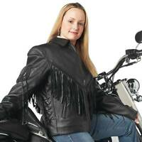NWT Ladie Womens Solid Genuine Black Leather Motorcycle Jacket Lace M L XL 2X 3X