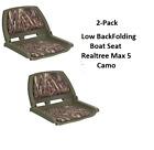 2-Pack Low Profile Folding Boat Seat Camo Padded Vinyl Jonboat Fishing