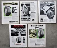 5x CAR TYRES BRIDGESTONE OLYMPIC SEMPERIT 1970's Magazine Page Advertisements