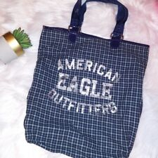 American Eagle Outfitters Tote Bag Blue Plaid Spell Out Logo