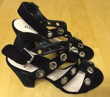 NEW Women's Bebo UK Size 7 Black Buckle Heels Silver Rings Velvet Shoes