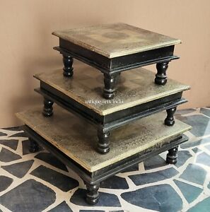 Indian Wooden Brass Fitted Design Chowki/Choki Religious Purpose Set Of 3