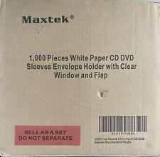 1000 Pack Maxtek White Paper Cd Dvd Sleeves Envelope Holder With Window Cut O